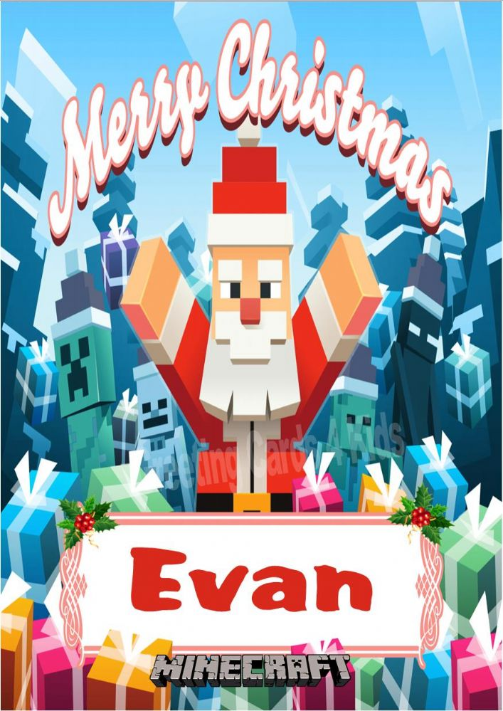 Personalised Minecraft Christmas Card Design 1